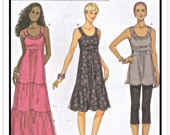"BUTTERICK Pattern B 5637 - Misses' ""Fast & Easy"" High Empire Waist Dress or Sundress or Tunic w/Tiered Ruffles - Sz 4-14 - Uncut/FF"