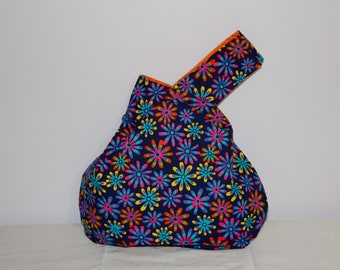 Japanese Knot Bag/Knitting Bag    Neon daises on blue background