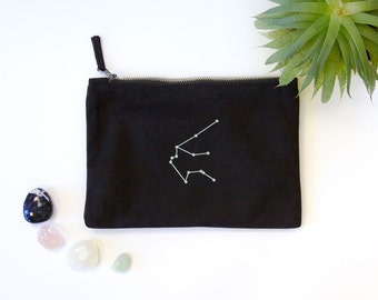 AQUARIUS Constellation Embroidered Black Bag with Zodiac Star Sign, January February Birthday Gift, Astrology