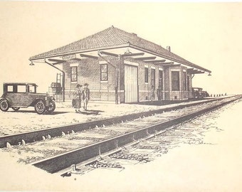 Vintage Print of Pen and Ink Drawing of the Railroad Depot in Granbury, Texas, by Jim Calhoun