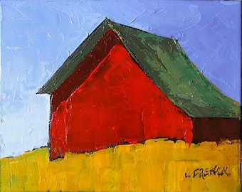 Impressionist Red FARM BARN Summer Fields Painting Plein Air Landscape California Art Lynne French o/c 8x10