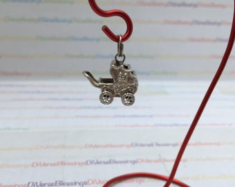Baby Carriage, Perambulator, Pram, Baby Shower, Mother's Day, Sterling Silver, Charm, Pendant, 925 China