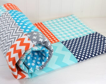 Baby Shower Gift, Minky Baby Blanket, Baby Boy, Baby Blanket, Nursery Decor, Baby Quilt, Navy, Aqua, Blue, Gray, Grey, Orange, Turquoise