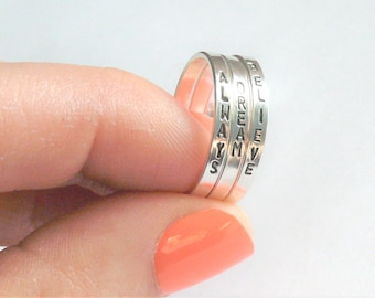 Personalized ring with kids names • Hand stamped ring with names • Sterling silver stacking ring • Custom name ring • Mothers ring