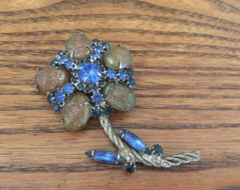 Vintage Blue and Textured AB Cabochon Flower Brooch 1283