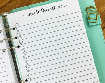 A6 To Do checklist planner printed insert - lined paper - check it off - refill insert