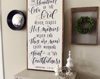Great is thy faithfulness | Lamentations 3:22-23 | 4'x2'| wood sign | framed sign | Scripture art | Christian sign | gallery wall
