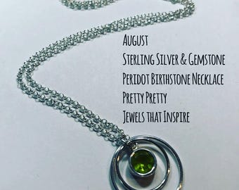 August Birthstone | Peridot Sterling Silver Necklace