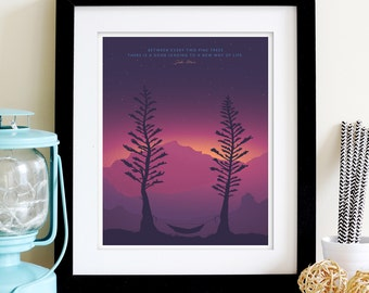 TWO PINES DUSK Hammock •  8x10 • Giclee Fine Art Poster • Outdoors Camping Inspirational Quote Hiking Poster for Mountain Backpacking Home