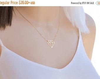 ON SALE Diamond necklace, geometric necklace, long necklace, diamond shaped necklace, gold diamond, gift under 50, unique necklace, gift for
