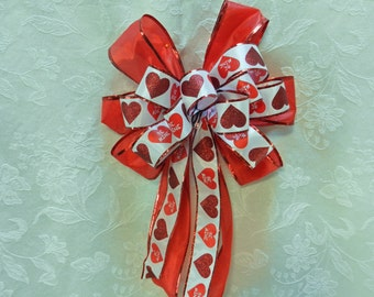 Valentine Bow  red glitter hearts, Be Mine hearts on white ribbon  on red ribbon bow