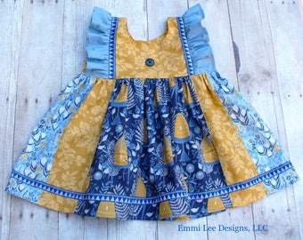 Size 5T Ready to Ship,Bumblebee and Honey Pot Top,Girls Top,Little Girl Top,Blue,Gold,Fall,Fall Photos