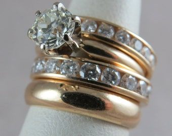 Set of 4 14k Yellow Gold and Natural Diamond Rings .75 pt. Solitaire