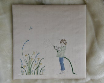 Modern hand embroidery. Embroidery pattern. Embroidery instant download. Child design. Boy design hand  embroidered.