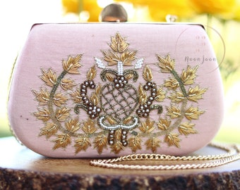 Blush Pink Clutch | Evening Clutch | Wedding Clutch | Gift for Her | Mother's Day Gift | Indian Clutch | Embroidered Clutch | Zari Clutch
