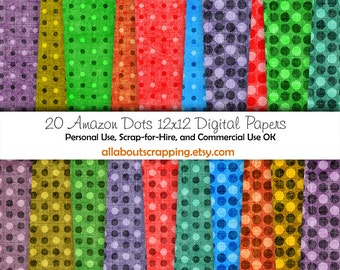 "12"" by 12"" COMMERCIAL Use Digital Scrapbooking Paper - Amazon Dots Digital Papers - Instant Download"