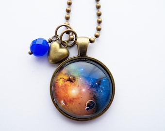 Milky Way Necklace -  1 Inch Galaxy Pendant - Outer Space Jewelry - Galaxy Necklace -  You Choose Bead and Charm - Milky Way Jewelry