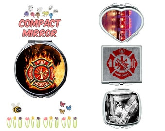 Fireman firefighter compact mirror, makeup mirror, cosmetic mirror, portable mirror, double sided compact makeup mirror, purse mirror