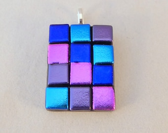Multi Colored Dichroic Fused Glass Pendant, Colorful, Fused Glass, Fused Glass Pendant, Glass Pendant, Dichroic Pendant, PInk, Blue, Purple