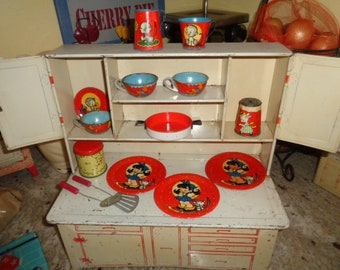 Mid Century Kitschy Wolverine LARGE Tin Toy Cupboard Hoosier with VINTAGE TOY Ohio Art dishes and Accessories