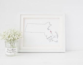 Massachusetts, Massachusetts Gifts, Home Sweet Home, Custom Massachusetts Gifts, Massachusetts Maps