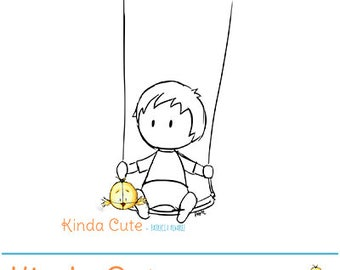 Boy in a swing (black/white only). Digital stamp for boy cards. Sello digital niño en columpio.