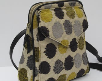 SHOULDER BAG by Elizabeth Z Mow Zot s Dots Tapestry Fabric with Black Leather Trim