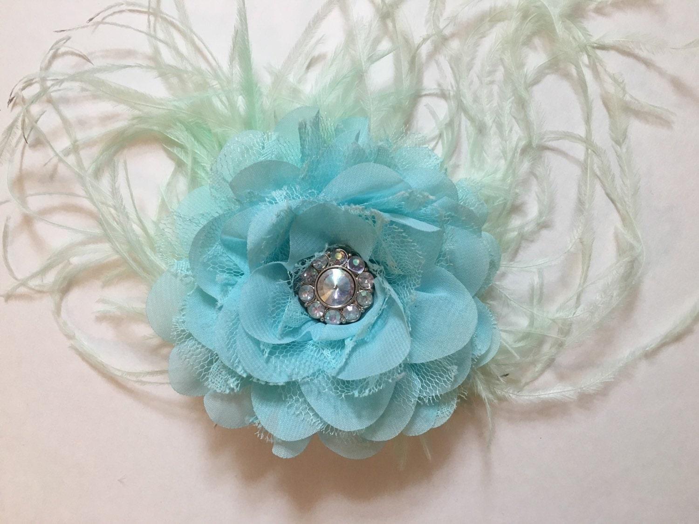 Aqua blue flower clip chiffon lace flower feather hair zoom izmirmasajfo