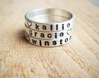 Personalized Stacking Name Ring Set in Sterling Silver, Custom Name Rings, Stackable Name Rings, Gift for Mother