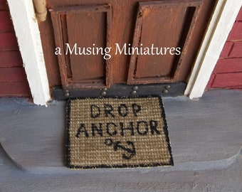 NEW Hand Painted Sisal Doormat Drop Anchor in 1:12 Scale for Dollhouse Miniature Beach House
