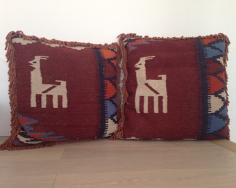 One Of A Kind Pair of Kelim Pillows