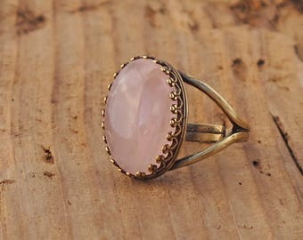 Rose Quartz Gemstone Rock Ring Antique Brass Gold Anti Tarnish Gift Boxed Mothers Day