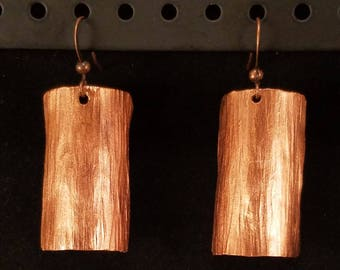 Large Copper Hammered Earrings
