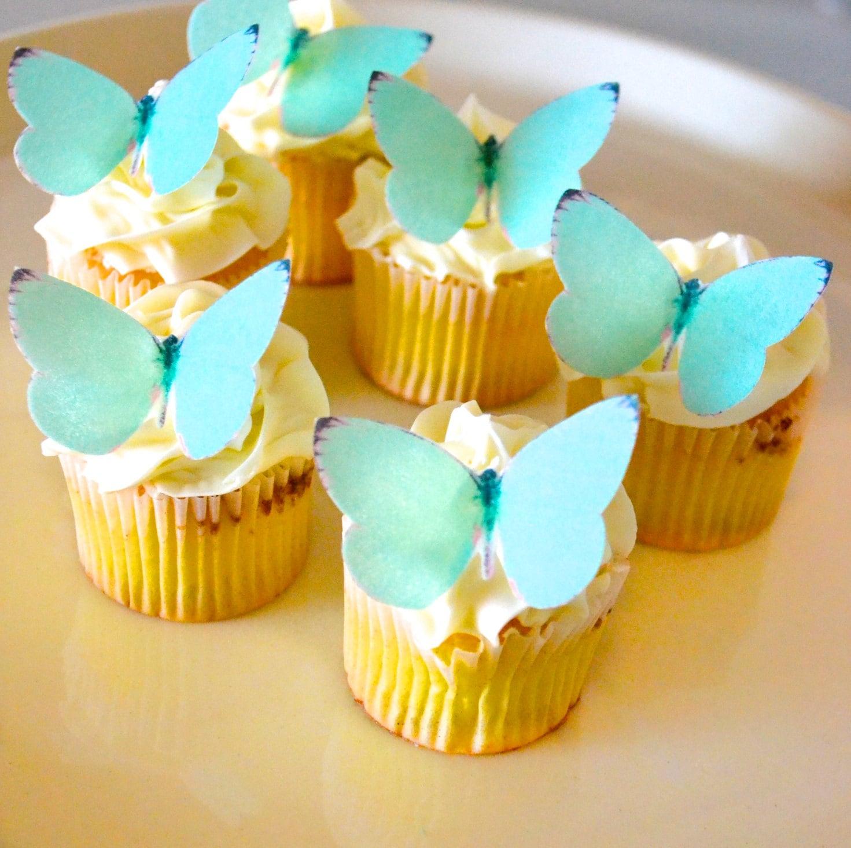 EDIBLE Butterflies Small Teal Blue Green Cake & Cupcake