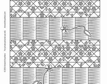 "Japanese Blossoms ""Flower Grid with Layered Lines"" Adult coloring page printable download from Artwork Anywhere ~hand drawn flowered design~"