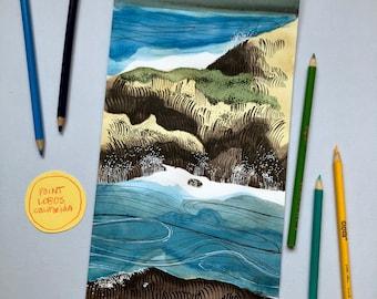 California Coastal Watercolor 3/6 - ORIGINAL ART - Frame Optional