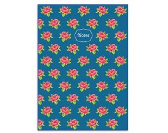 "A5 ""Notes"" notebook, jotter, journal roses design"