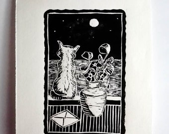 """Original Handmade Linocut Print, 6.5"""" x 9"""", Small size art, Limited Edition, full moon, poppies, wall decor, hand pulled, black ink"""