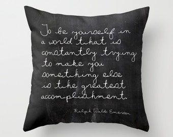 Emerson Quote Pillow, Inspirational Pillow, Gifts for Her, Gifts for Him, Girls Room Decor, Boys Room Decor, Teen Pillow, Black