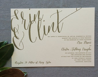Flourished Calligraphy wedding invitation in gold ink