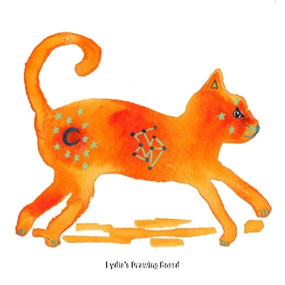 Cat, Cat Art, Cat Artwork, Cat Art Print, Animal Art, Animal Artwork, Animal Art Print,Animal Art Nursery, Kids Room Art, Nature Art Print
