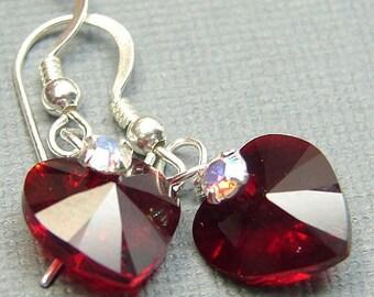 Handmade OOAK Swarovski crystal heart earrings in siam red & clear crystal