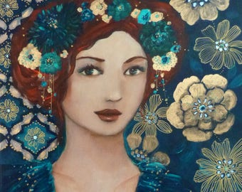 Woman portrait in an Art déco style, blue and gold.
