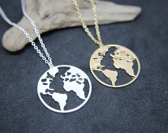 Globe Earth Klobus origami chain shiny in gold or silver necklace