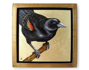 Red Wing Blackbird painting - original red-winged black bird art block - metallic gold leaf - realistic bird painting - gold frame square
