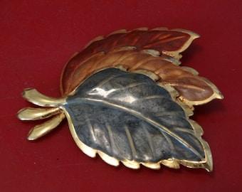 Vintage Tri Color Leaf Brooch, Reds, Golds & Greens Pin, Leaf, Fall Leaves, Leaves, Brooch, Pendant, Fall Leaf, Thanksgiving, Tree Leaves