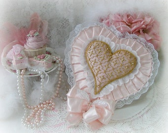 Pink Satin Heart with White Lace and Exquisite Gold and Pink Embroidered Heart Center, Ring Bearer Pillow, Bridal Accessories, Valentines