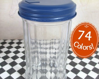 Glass Sugar Dispenser with Dark Blue top Vintage Inspired