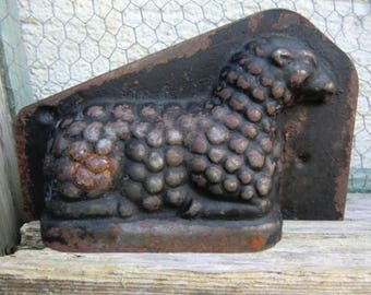 Vintage old metal baking lamb sheep rustic shabby raw