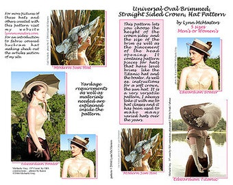 MC18 - Universal Oval Brimmed Hat,  Edwardian Boater, Titanic Hat & Modern Sun Hat Pattern (Sewing Pattern) by Lynn McMasters